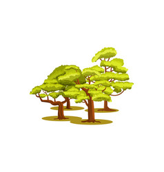 group of green trees icon vector image