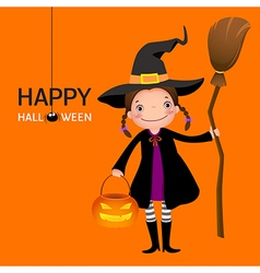 Halloween witch cute girl with broomstick and vector image vector image