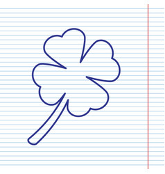 Leaf clover sign navy line icon on vector