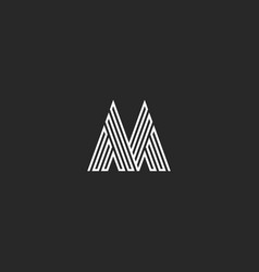 letter m logo hipster initial mockup thin broken vector image vector image