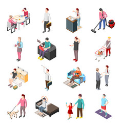 Life of ordinary people isometric icons vector