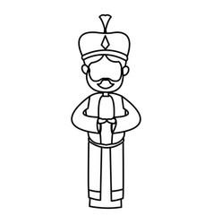 Manger cartoon wise king christmas celebration vector