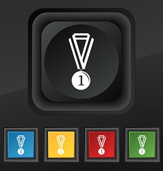 Medal for first place icon symbol set of five vector