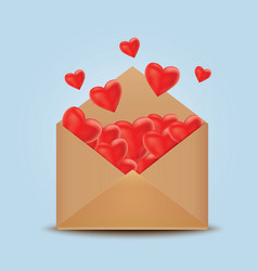 Open realistic envelope with red hearts vector
