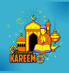 People wishing ramadan kareem generous ramadan for vector