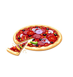 pizza italian traditional vector image vector image