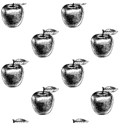 Seamless pattern with apples sketch vector