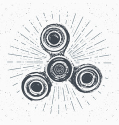 spinner vintage label hand drawn sketch grunge vector image