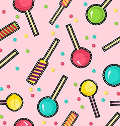 Stitch patches sweet lollipop seamless pattern vector