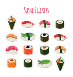 Sushi set stickers labels logos asian food vector