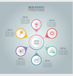 Timeline business concept with 6 options vector