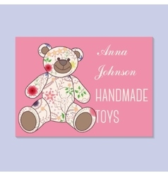 Vintage business card for handmade toys maker vector
