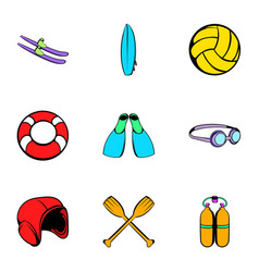 Water tourism icons set cartoon style vector