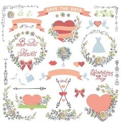 Wedding bridal shower decor setdoodle florawers vector