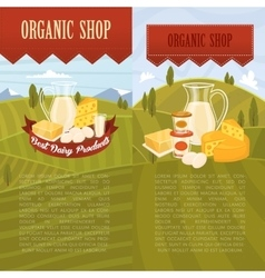 Organic shop banners with rural landscape vector
