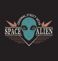 Space alien head vector