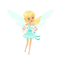 Beautiful sweet smiling blonde tooth fairy girl vector