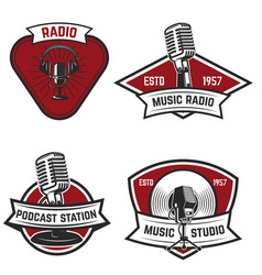 Set of emblems with old style microphone isolated vector