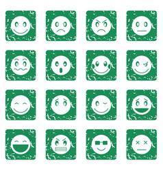 Emoticon icons set grunge vector