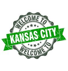 Kansas city round ribbon seal vector