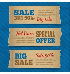 Cardboard sale banners set vector