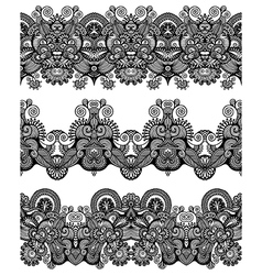 Collection of seamless ornamental floral stripes vector