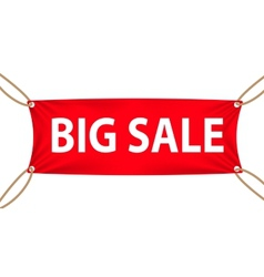 Textile banners with big sale text suspended by vector