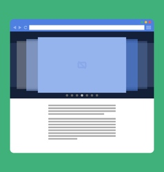 Flat browser window with photo slideshow vector