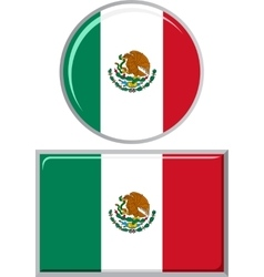 Mexican round and square icon flag vector image
