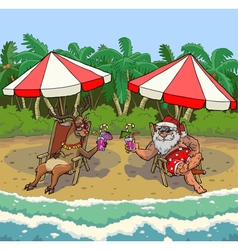 Santa and reindeer on a tropical beach vector