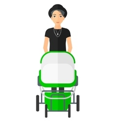 Woman pushing pram vector