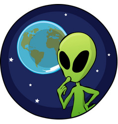 Cartoon alien overlooking planet earth vector