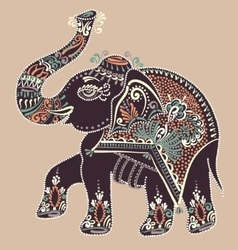 Folk art indian elephant dot painting vector