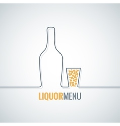 Liquor bottle glass shot design background vector