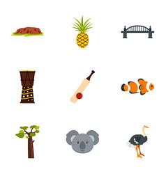 Australian symbols icon set flat style vector