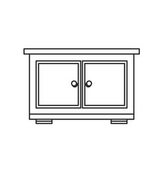 Bedside table wood furniture outline vector