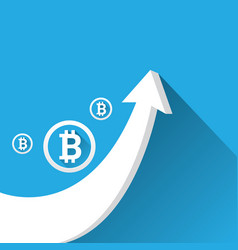 bitcoin growth graph on blue background vector image vector image