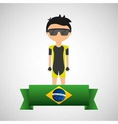 cartoon cycling player brazilian label vector image vector image