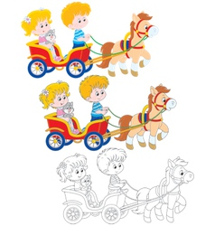 Children riding a pony vector