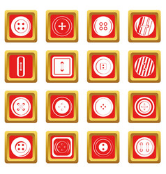 Clothes button icons set red vector