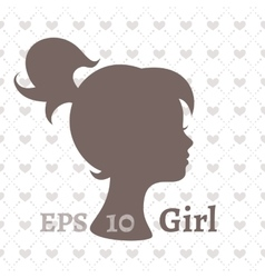 Dark silhouette profile of a young girl vector