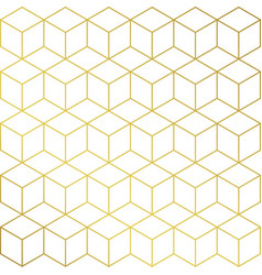 Gold and white cube shape background pattern vector