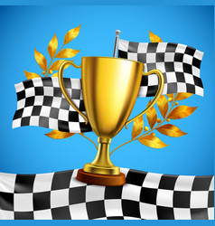 Golden winner trophy realistic poster vector