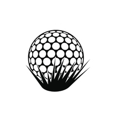 Golf ball on grass icon vector