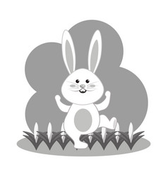 Grayscale nice and funny rabbit dancing vector