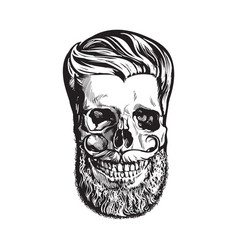 Hand drawn human skull with hipster hairdo beard vector