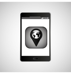 Icon smartphone gps map location design vector