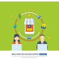 Internet and mobile marketing Online shopping vector image vector image