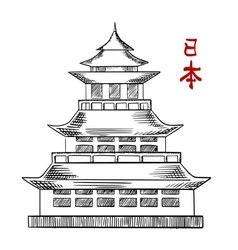 Japanese old pagoda tower sketch vector image vector image