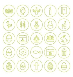 Line Circle Orthodox Easter Icons Set vector image vector image